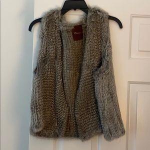 Real rabbit fur grey vest